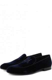 Бархатные слиперы с вышивкой Giorgio Armani