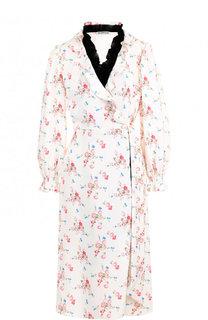 Платье-миди с запахом и принтом Balenciaga