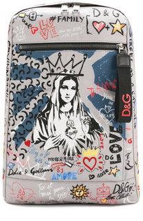 Кожаный рюкзак с принтом Dolce & Gabbana