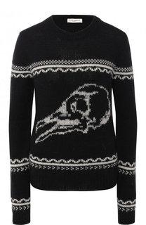 Шерстяной пуловер с круглым вырезом и вышитым принтом Saint Laurent