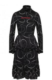Приталенное платье-миди с оборками и воротником-стойкой Balenciaga