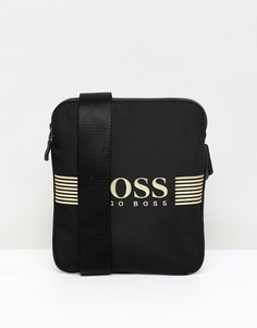 Boss pixel flight bag nylon gold logo in black - Черный