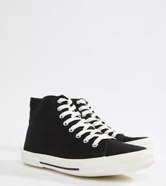 Черные высокие кеды для широкой стопы на шнуровке ASOS DESIGN - Черный