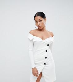 Платье-смокинг на пуговицах со спущенными плечами Boohoo Petite - Белый