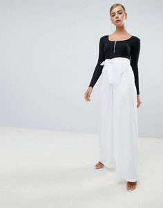 Missguided tie waist wide leg trousers - Белый