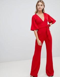 Missguided plunge kimono sleeve jumpsuit - Красный