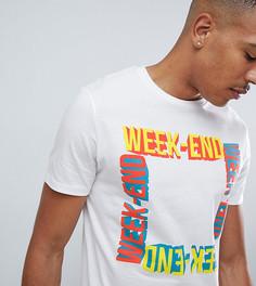 Белая футболка с надписью weekend Burton Menswear Tall - Белый