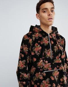 Черная бархатная куртка на молнии с цветочным рисунком Profound Aesthetic - Черный