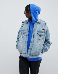 Рваная джинсовая куртка ASOS DESIGN - Синий