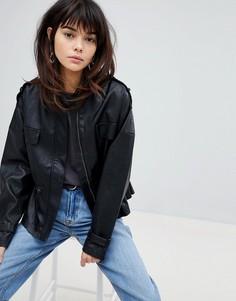 Куртка из искусственной кожи в стиле 80-х Vero Moda - Черный