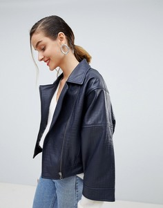 Фактурная кожаная куртка с широкими рукавами Selected - Темно-синий