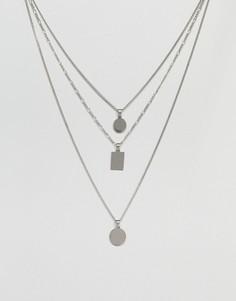 Серебристое ярусное ожерелье с геометрическими подвесками ALDO - Серебряный