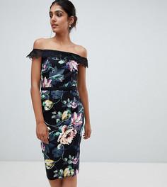 Платье-футляр с широким вырезом, принтом и кружевной отделкой Little Mistress Tall - Мульти