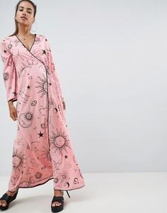 Пляжное платье макси с запахом и зодиакальным принтом ASOS DESIGN - Мульти