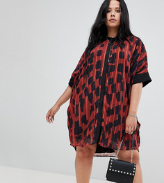 Драпированное платье-рубашка с леопардовым принтом Religion plus - Красный