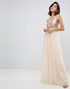Платье макси на бретелях с отделкой пайетками City Goddess - Кремовый