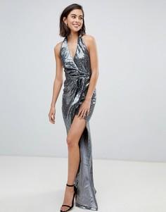 Платье макси с халтером, пайетками и разрезом City Goddess - Серебряный