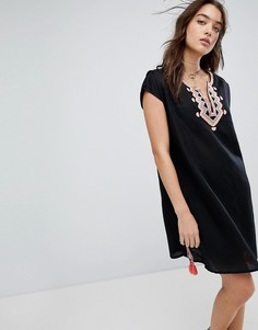 Пляжная накидка из смешанного льна с вышивкой Seafolly - Черный
