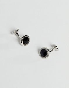 Круглые серебристые запонки BOSS Tobin - Черный