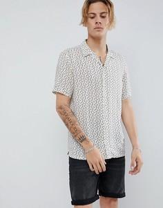 Серовато-бежевая рубашка с короткими рукавами и отложным воротником AllSaints - Бежевый