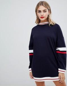 Платье-футболка с полосками Missguided - Темно-синий