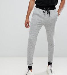 Серые облегающие джоггеры с контрастными манжетами и поясом ASOS DESIGN tall - Серый