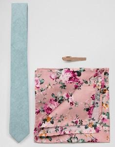 Комплект с узким галстуком, платком для нагрудного кармана и зажимом для галстука Peter Werth - Зеленый