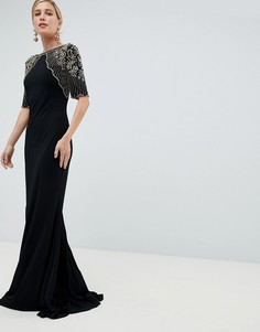Платье макси с декоративной отделкой Jovani - Черный