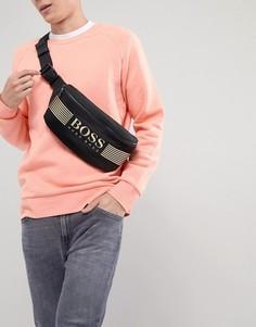 Черная нейлоновая сумка через плечо с золотистым логотипом BOSS Pixel - Черный