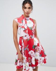 Короткое приталенное платье с оборками Ted Baker - Мульти