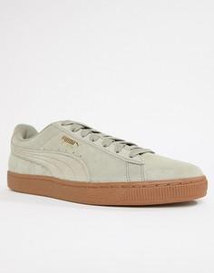 Серые замшевые кроссовки на резиновой подошве Puma 36534747 - Серый