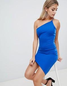 Асимметричное платье на одно плечо Missguided - Синий