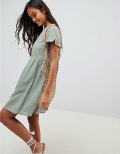 Свободное платье мини с оборками на рукавах ASOS DESIGN - Зеленый