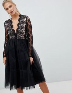 Платье с кружевным топом и длинными рукавами Rare London - Черный