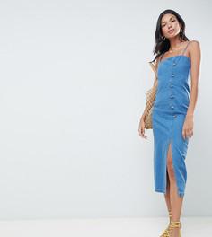Синее джинсовое платье миди с пуговицами сбоку ASOS DESIGN Tall - Синий