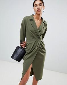 Платье-смокинг миди с плиссировкой ASOS DESIGN - Зеленый