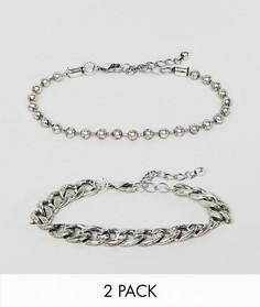 Серебристые браслеты-цепочки DesignB, 2 шт. в комплекте - Серебряный