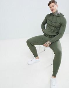 Спортивный костюм с надписью (худи и джоггеры облегающего кроя) ASOS DESIGN - Зеленый