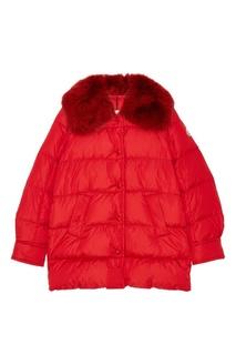 Красная куртка с меховым воротником Moncler