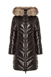 Черная куртка с меховой отделкой Moncler