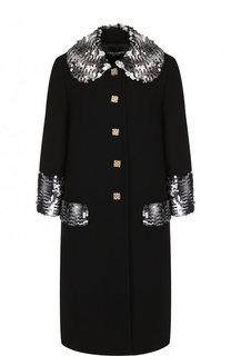 Шерстяное пальто с декоративной отделкой Dolce & Gabbana