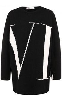 Кашемировый пуловер с вышитым логотипом бренда Valentino