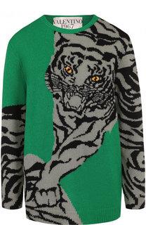 Кашемировый пуловер с круглым вырезом и принтом Valentino