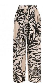 Укороченные шелковые брюки с поясом и принтом Valentino