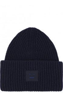 Шерстяная шапка фактурной вязки с нашивкой Acne Studios