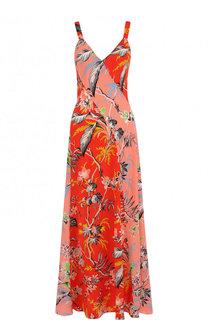 Приталенное шелковое платье-миди с принтом Diane Von Furstenberg