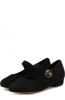 Замшевые туфли с пряжкой Dolce & Gabbana