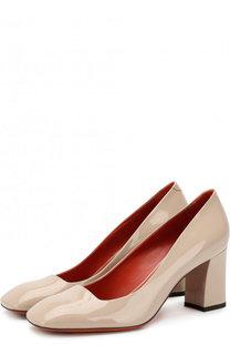 Лаковые туфли на устойчивом каблуке Santoni