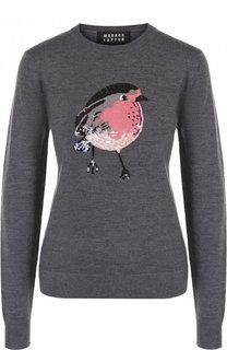 Шерстяной пуловер с круглым вырезом и декоративной отделкой Markus Lupfer