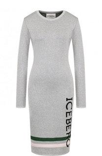 Приталенное платье-миди с круглым вырезом и логотипом бренда Iceberg